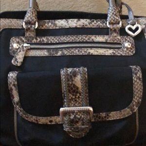 Brighton snakeskin embellished canvas handbag-mint